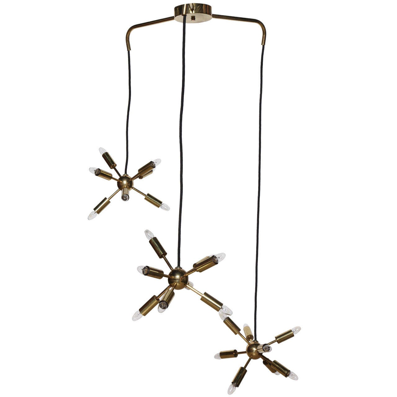 """Astral for Lightolier Triple """"Sputnik"""" Twenty Four Bulb Mobile Pendant, 1950s"""