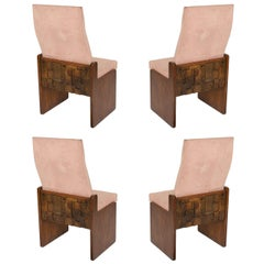 Set of 4 Brutalist Walnut Dining Chairs by Lane late 50's
