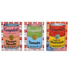 Series of 3 Steve Kaufman Campbell's Soup Cans, 20th Century