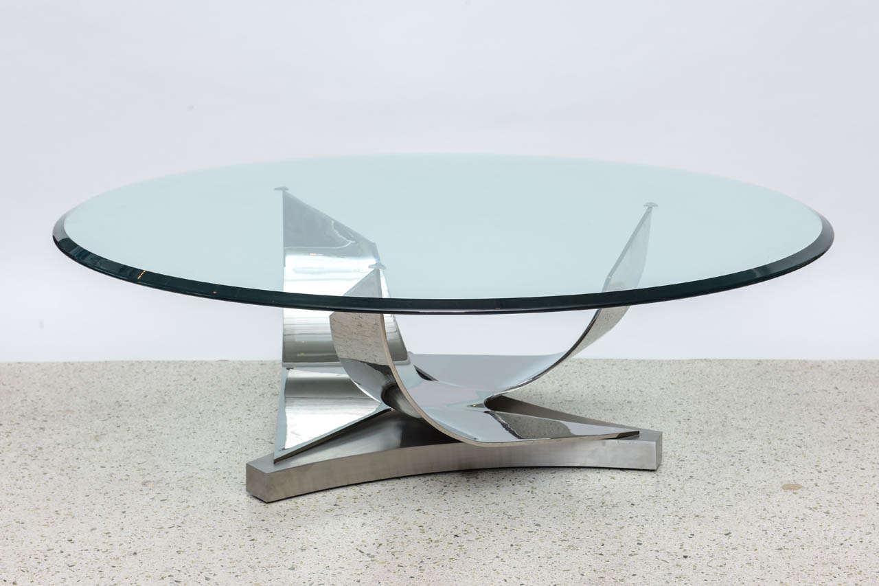 Ron Seff Polished Chrome and Stainless Steel Glass Top Low Table 2