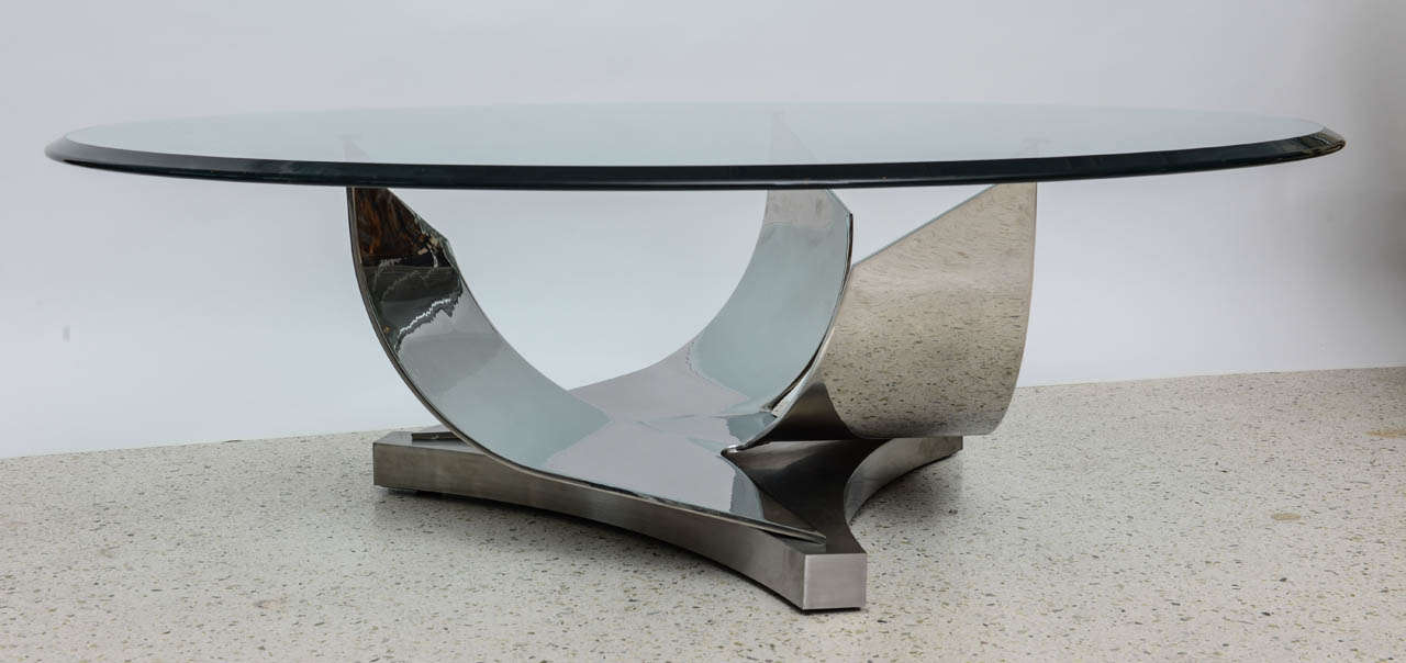 Ron Seff Polished Chrome and Stainless Steel Glass Top Low Table 4