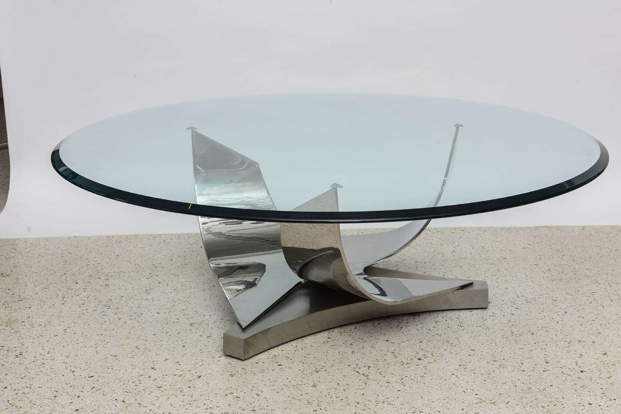 Ron Seff Polished Chrome and Stainless Steel Glass Top Low Table 10