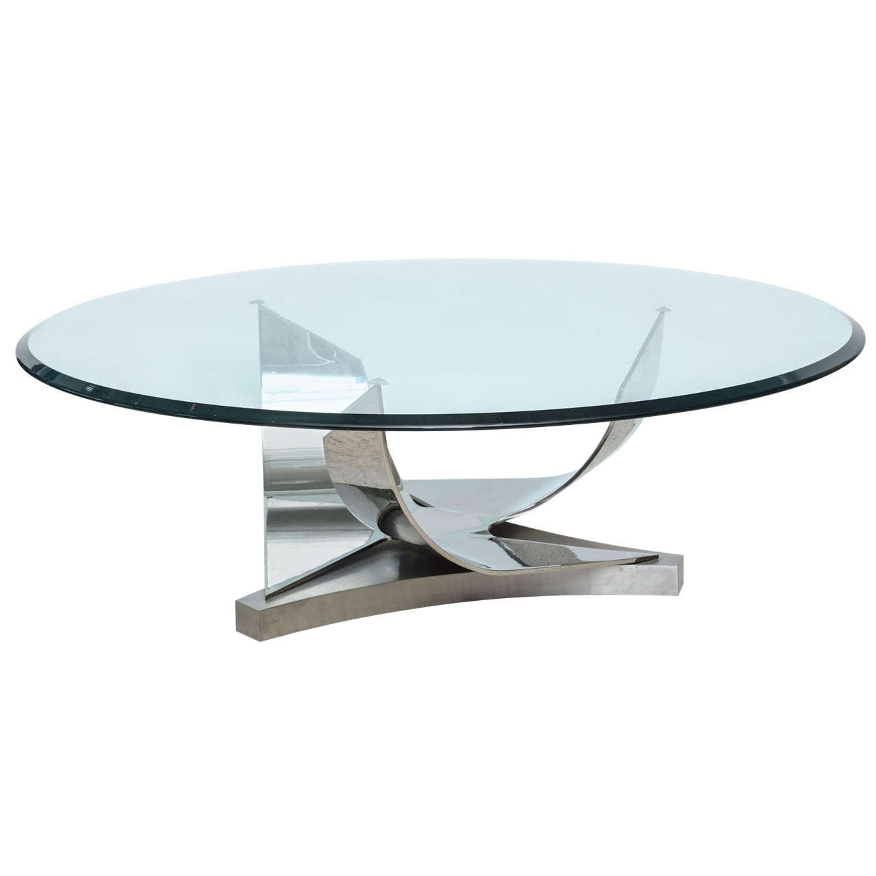Ron Seff Polished Chrome And Stainless Steel Glass Top Low Table