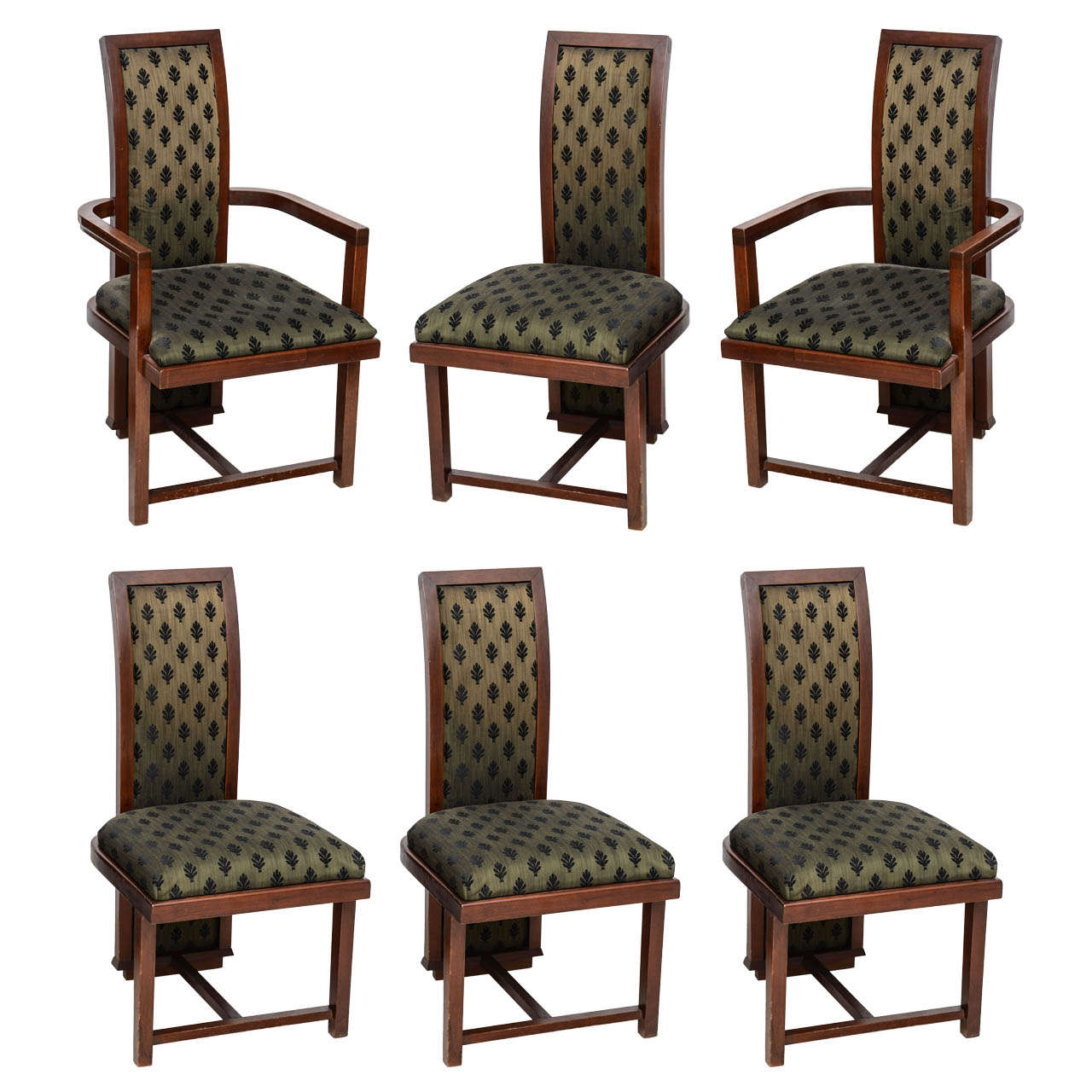Lovely Set Of 12 Frank Lloyd Wright Taliesin Mahogany Dining Chairs By Henredon 1