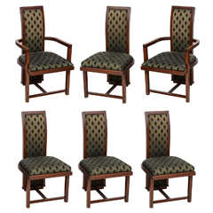 Set of 12 Frank Lloyd Wright Taliesin Mahogany Dining Chairs by Henredon
