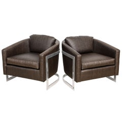"Pair of Mid Century Modern Polished Chrome and ""Ostrich"" Upholstered Chairs"