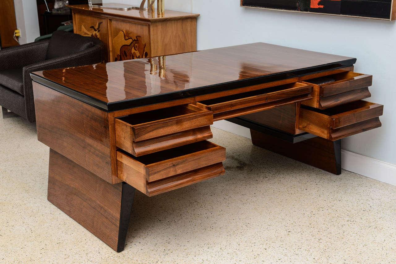 Fine Italian Modern Walnut Executive Desk, Borsani For ...