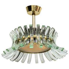 Rare Fontana Arte Glass Chandelier, Italy, 1950s