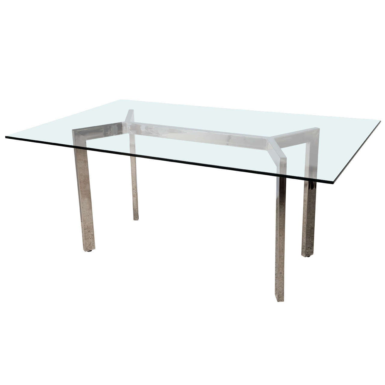 A milo baughman for dia polished chrome and glass dining for Unusual glass dining tables