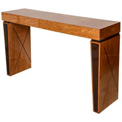 Art Deco Burled Walnut and Mahogany Inlaid Console Table, France