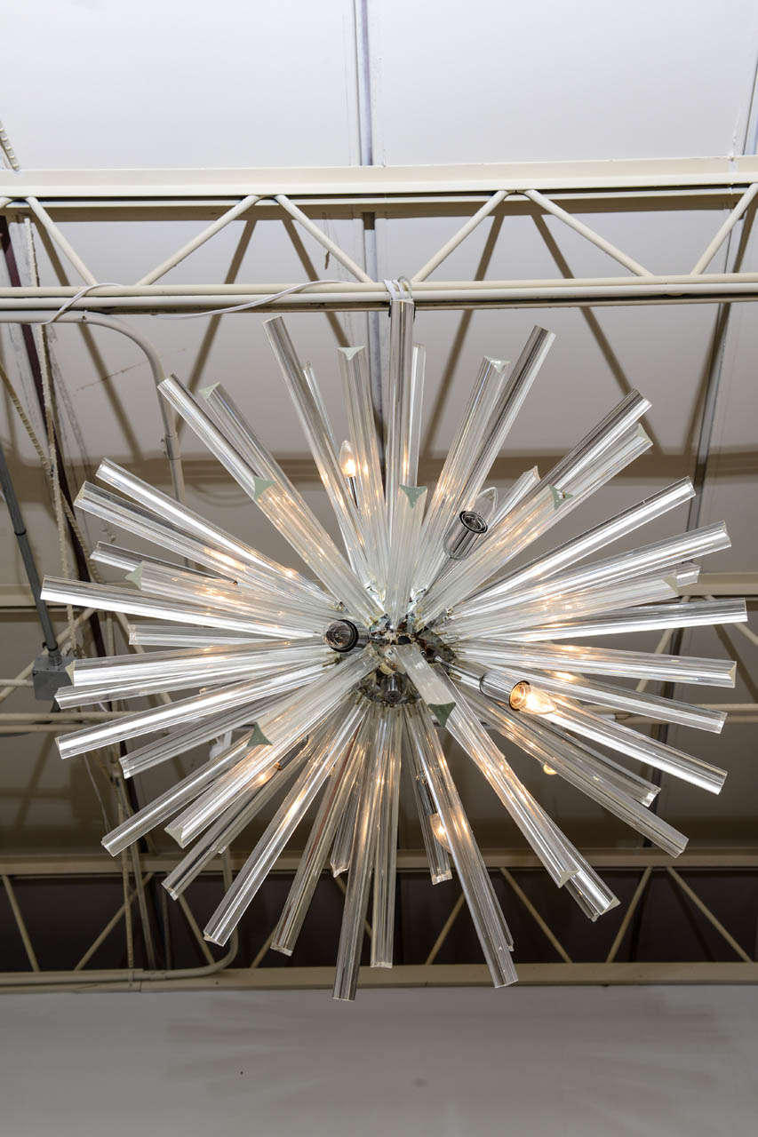 Italian Pair of Monumental Glass and Polished Chrome Chandeliers, Venini for Camer For Sale