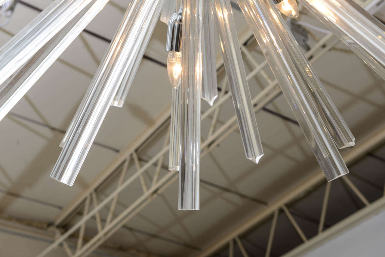 Pair of Monumental Glass and Polished Chrome Chandeliers, Venini for Camer In Excellent Condition For Sale In Miami, FL