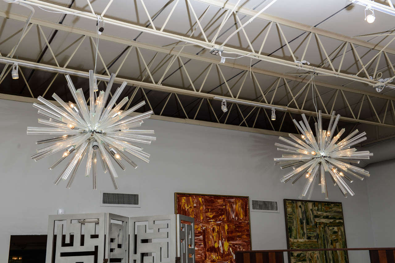 Pair of Monumental Glass and Polished Chrome Chandeliers, Venini for Camer For Sale 2