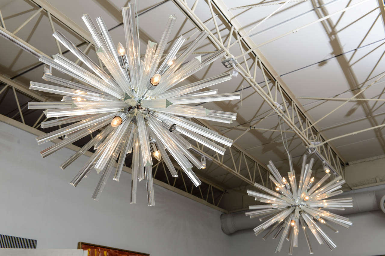 Pair of Monumental Glass and Polished Chrome Chandeliers, Venini for Camer For Sale 3