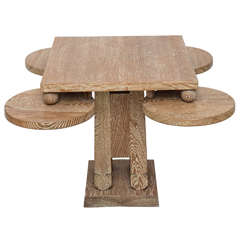 Fine Cerused Oak Occasional Table of Unusual Form Attributed to James Mont