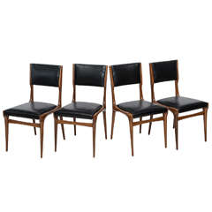 Set of Ten Italian Modern Walnut Dining Chairs, Carlo di Carli