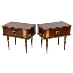 Pair of Italian Modern Walnut, Sycamore, and Bronze-Mounted Bedside Tables