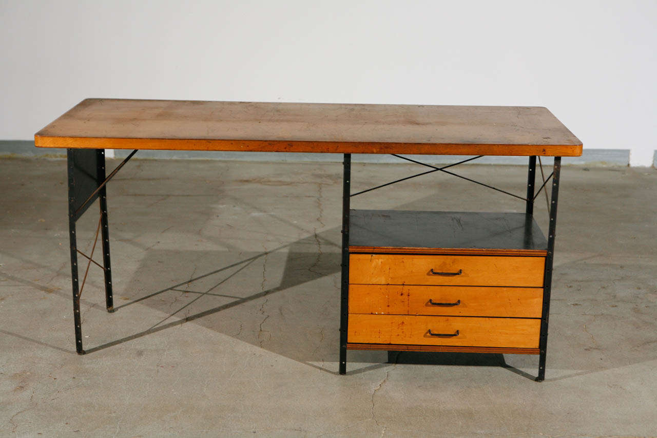 Early Esu Desk By Charles Eames With Three Drawers Model D 20 American Herman Miller