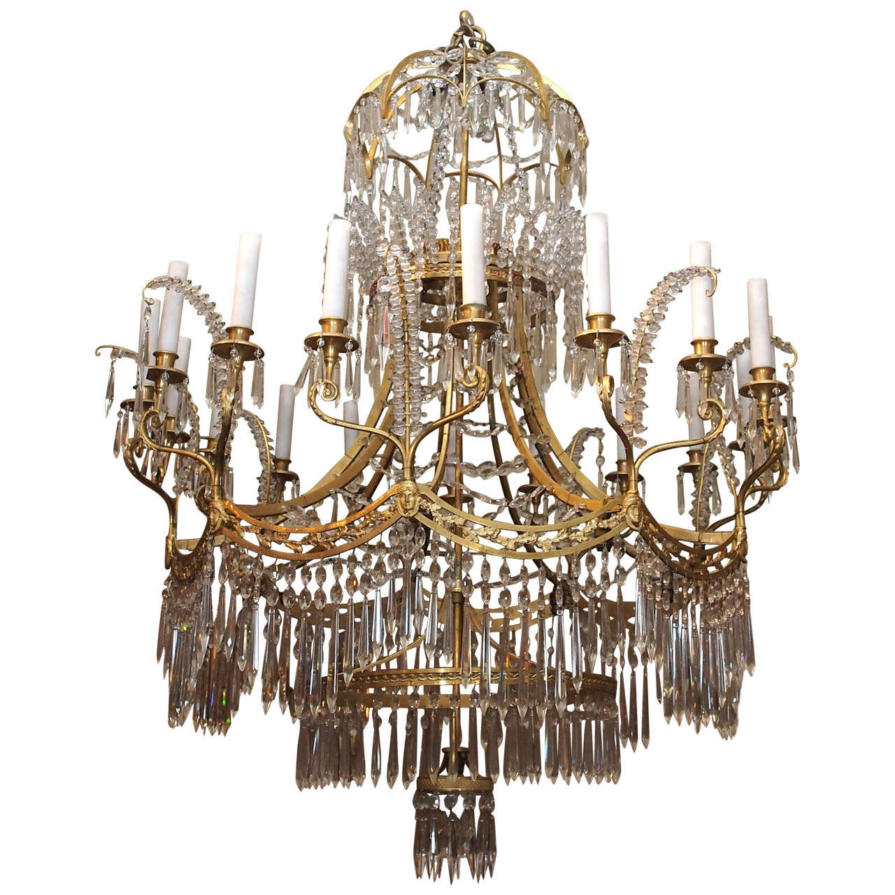 Antique Crystal and Ormolu Late 19th Baltic Century Chandelier For Sale - Antique Crystal And Ormolu Late 19th Baltic Century Chandelier For