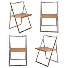 Set of 4 Italian Folding Chrome and Cane Chairs