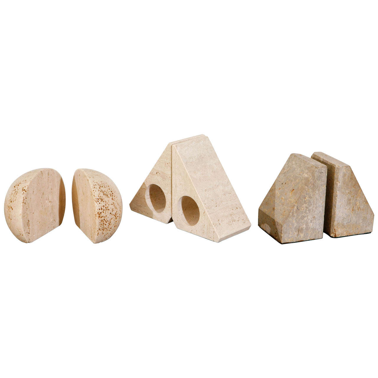 Pairs of Travertine Raymor Italy Book Ends