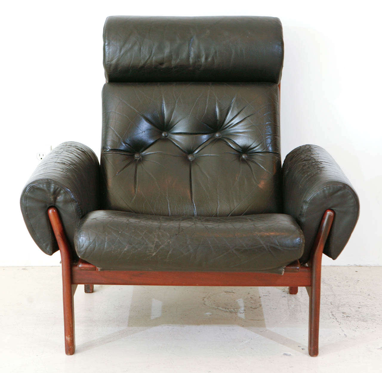 norwegian black leather club chair at 1stdibs