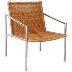 Martin Visser Chrome and Cane Lounge Chair