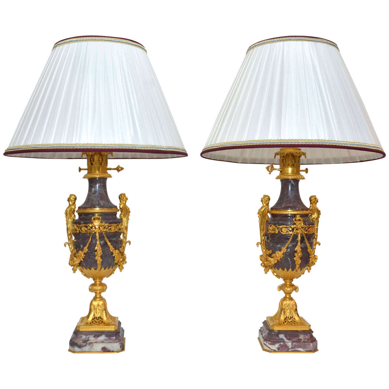 Pair Of Rare Marble Lamps With Sik Lamp Shade For Sale At