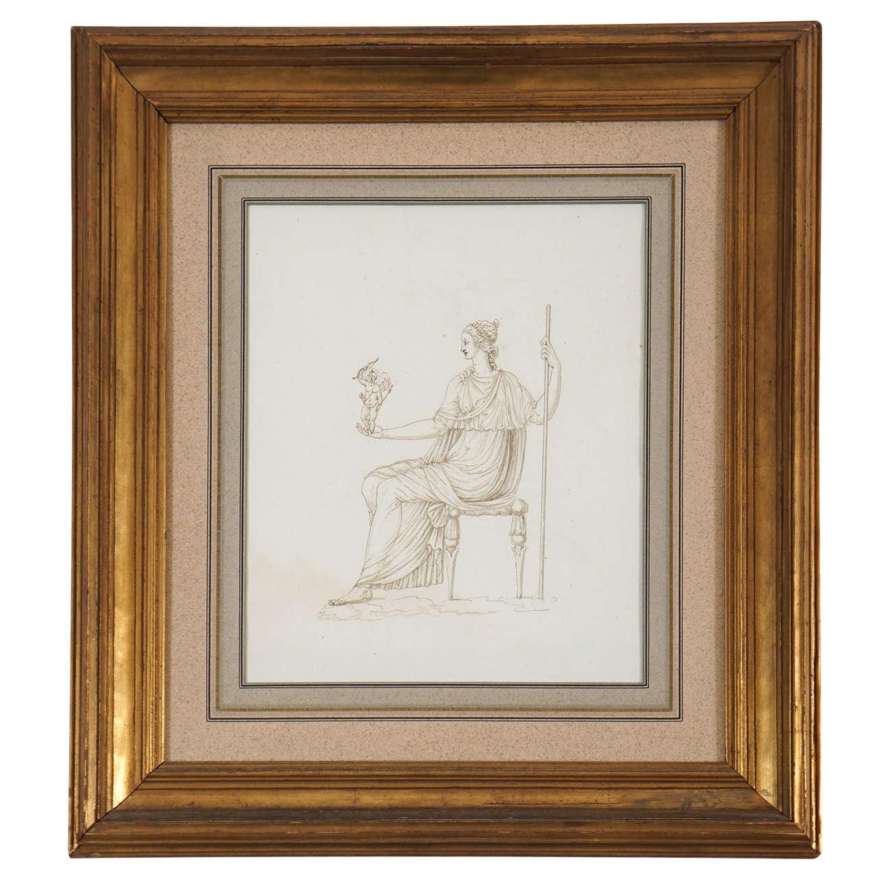 Drawing of Venus Holding Cupid, Italy, circa 1780