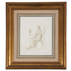 Ink on Paper Drawing of Venus Holding Cupid, Italy, circa 1780