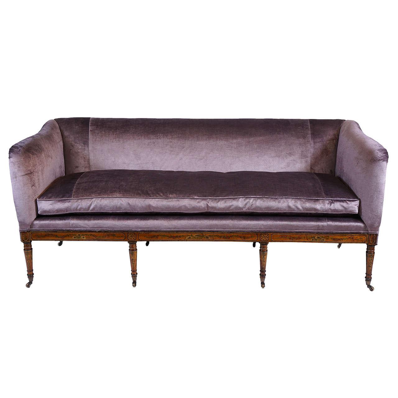 Rare George III Sheraton Style Satinwood Sofa, England, circa 1795