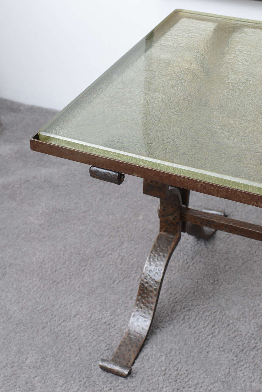 French art deco hammered iron and glass top coffee table for Cast iron table with glass top