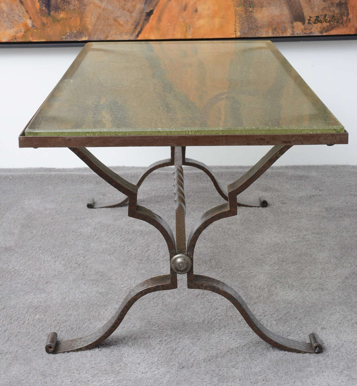 French Art Deco Hammered Iron And Glass Top Coffee Table