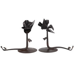 Pair of Albert Paley Forged Iron Botanical Candlesticks, 1993