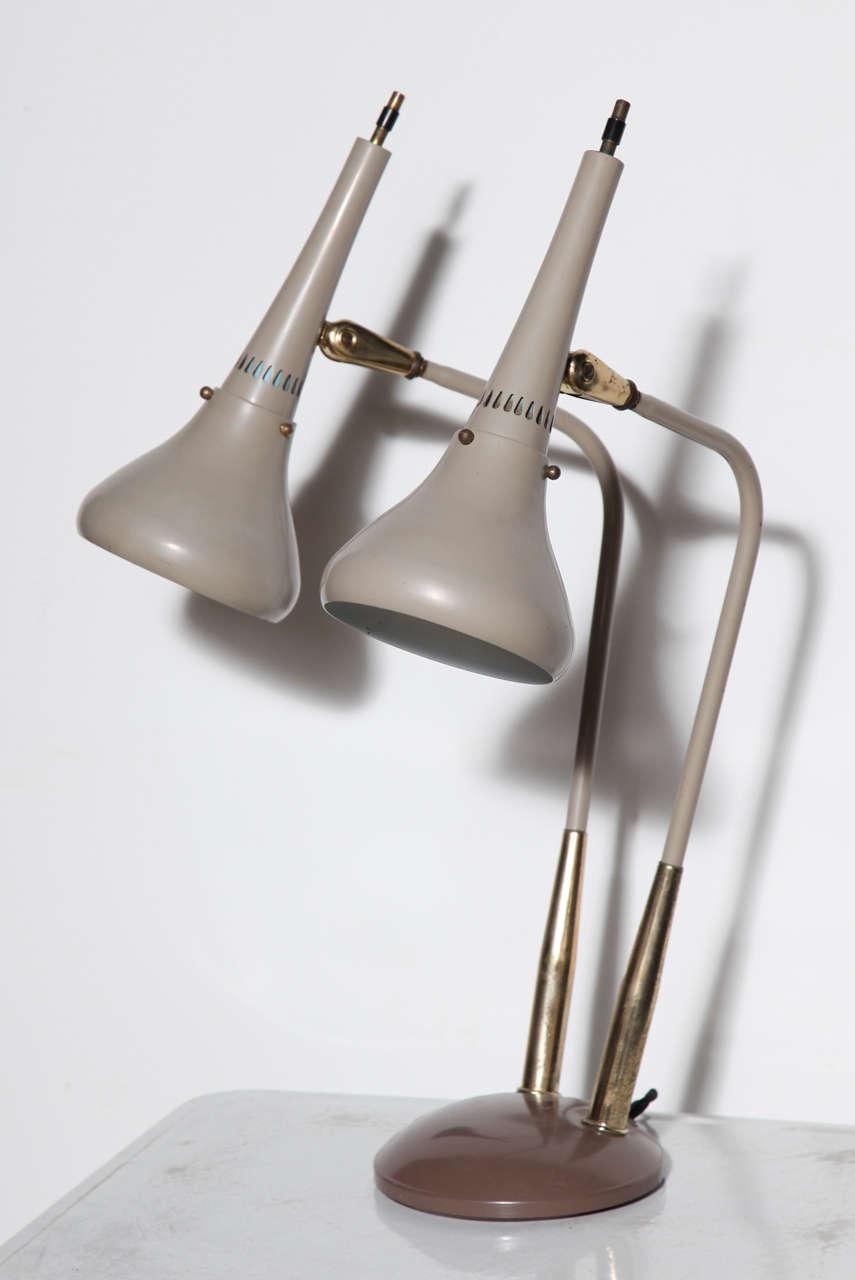 Rare gerald thurston double cone enamel and brass table lamp at rare gerald thurston double cone enamel brass table lamp 2 geotapseo Image collections