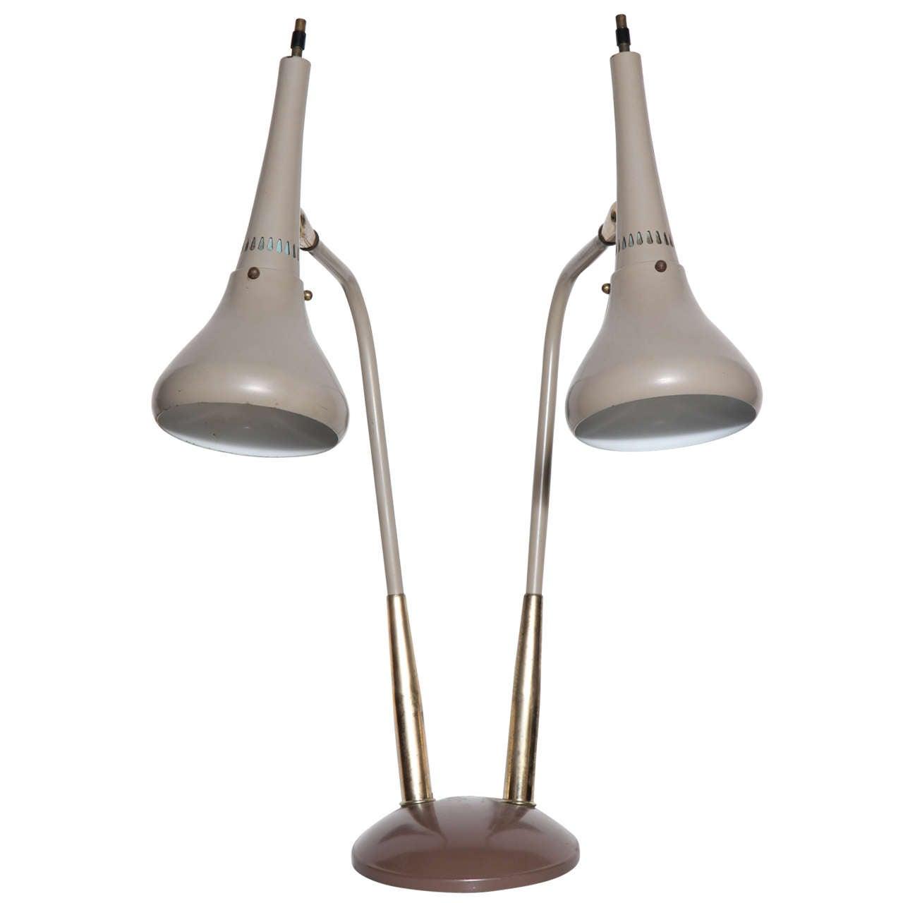 Rare gerald thurston double cone enamel and brass table lamp at rare gerald thurston double cone enamel brass table lamp 1 geotapseo Gallery
