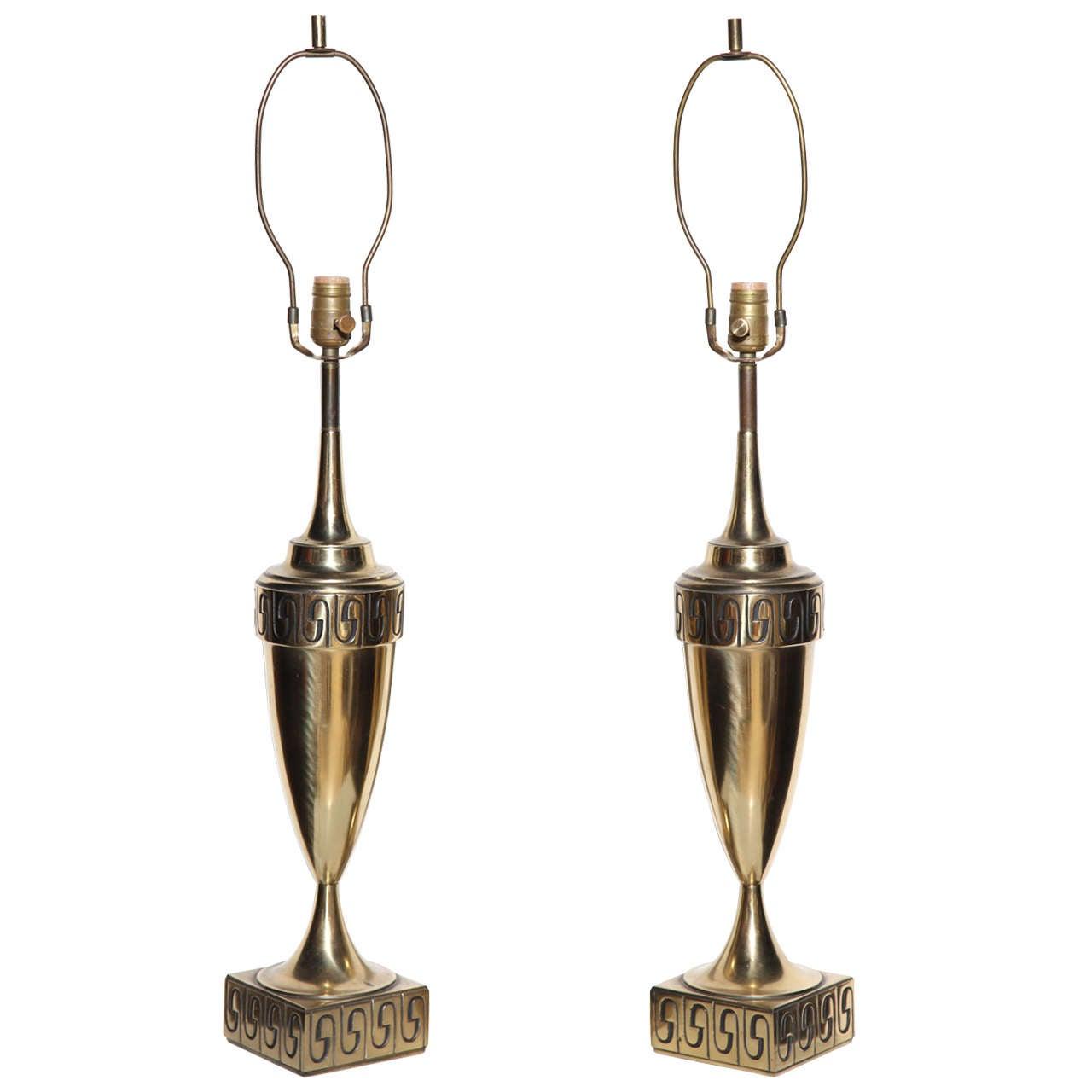 Westwood Lighting: Tall Pair Of Westwood Studios Neoclassical Revival Brass