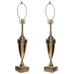 Tall Pair of Westwood Studios Neoclassical Revival Brass Table Lamps, 1950s