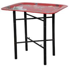 Piero Fornasetti Trompe L'Oeil Red Tray Table on Black Lacquer Stand, 1955