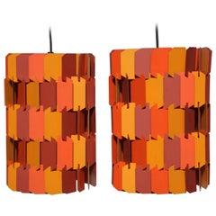 Pair of Louis Weisdorf for Lyfa Orange & Rose Facet Pop Hanging Pendants, 1970s