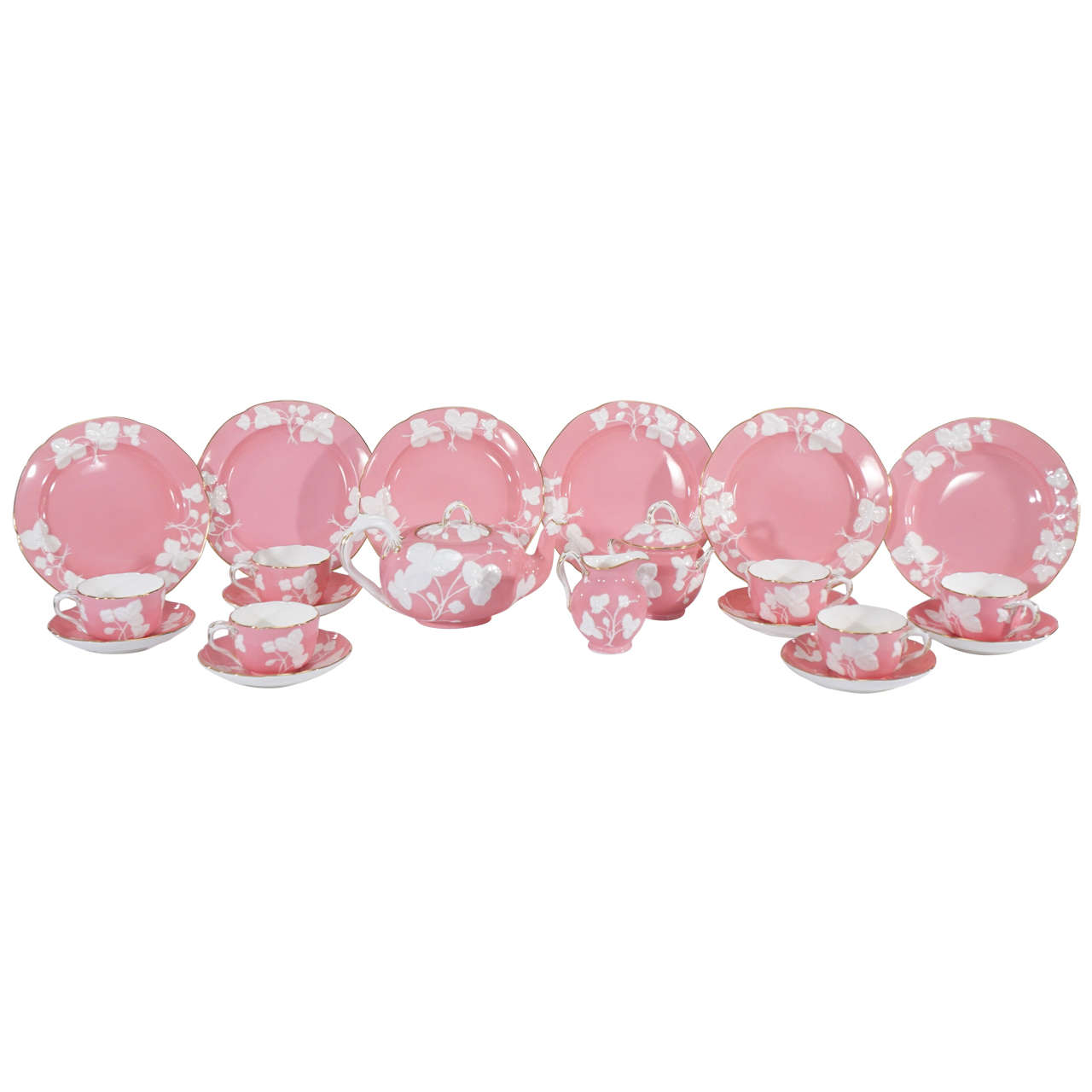 Mintons Pink and Blanc de Chine Dessert Set for Six Raised Leaf and Gold