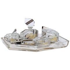 Six-Piece French Art Deco Crystal Enamel & Gold Dresser Set on Matching Tray