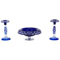Rare Val St. Lambert Cobalt Blue Three-Piece Centerpiece Set, Cathedral Pattern