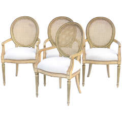 Set of Four Painted Louis XVI Style Armchairs