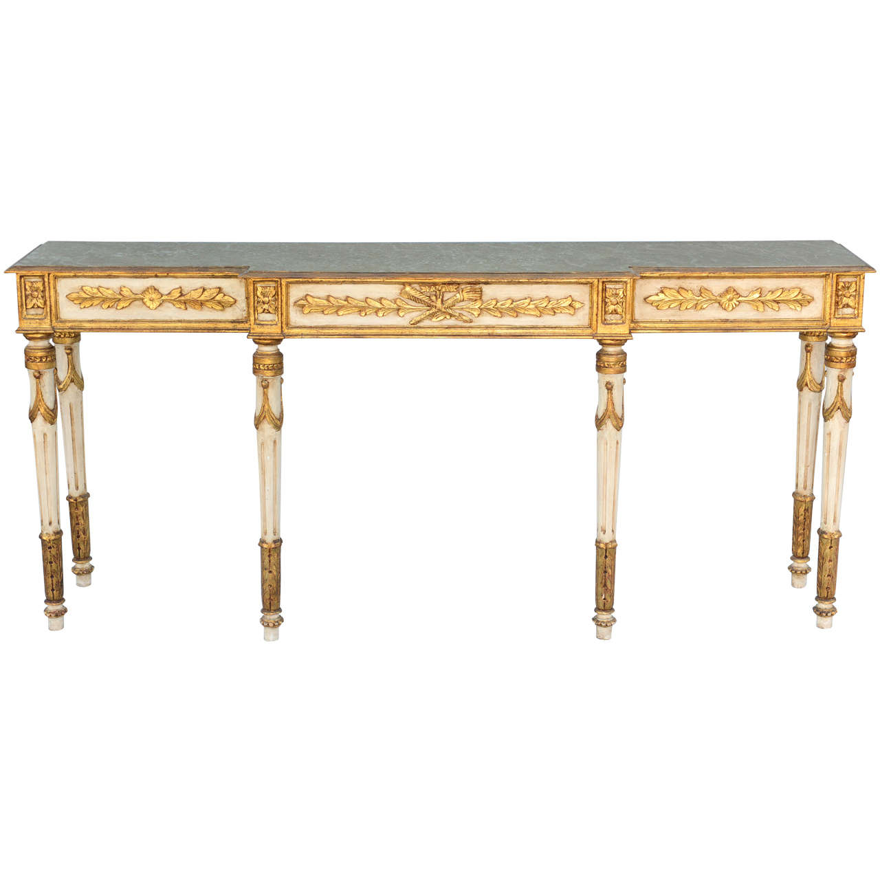 Long and Narrow Painted Louis XVI Style Console Table at