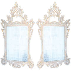 Pair of Carved Wood Italian Mirrors with Pierced Pediment and Frame