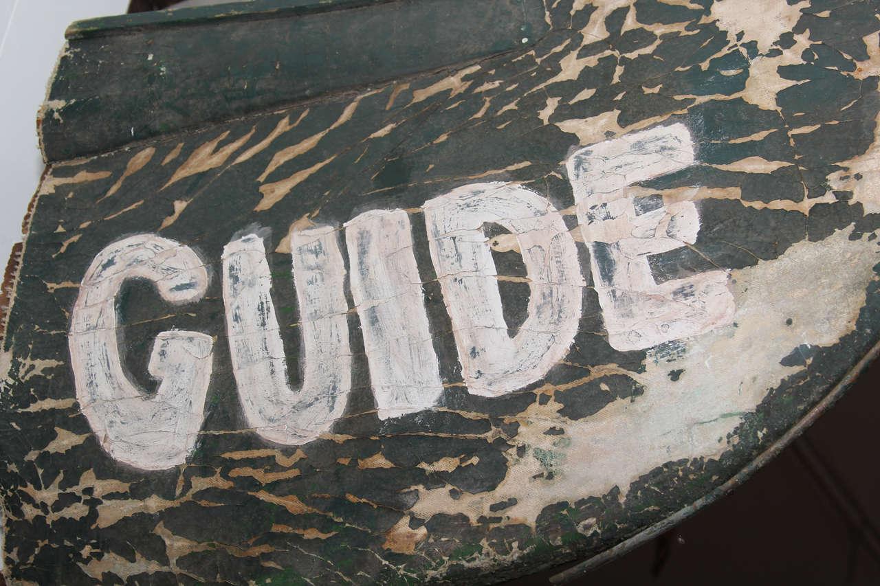 North American Folk Art Canoe Guide Sign For Sale