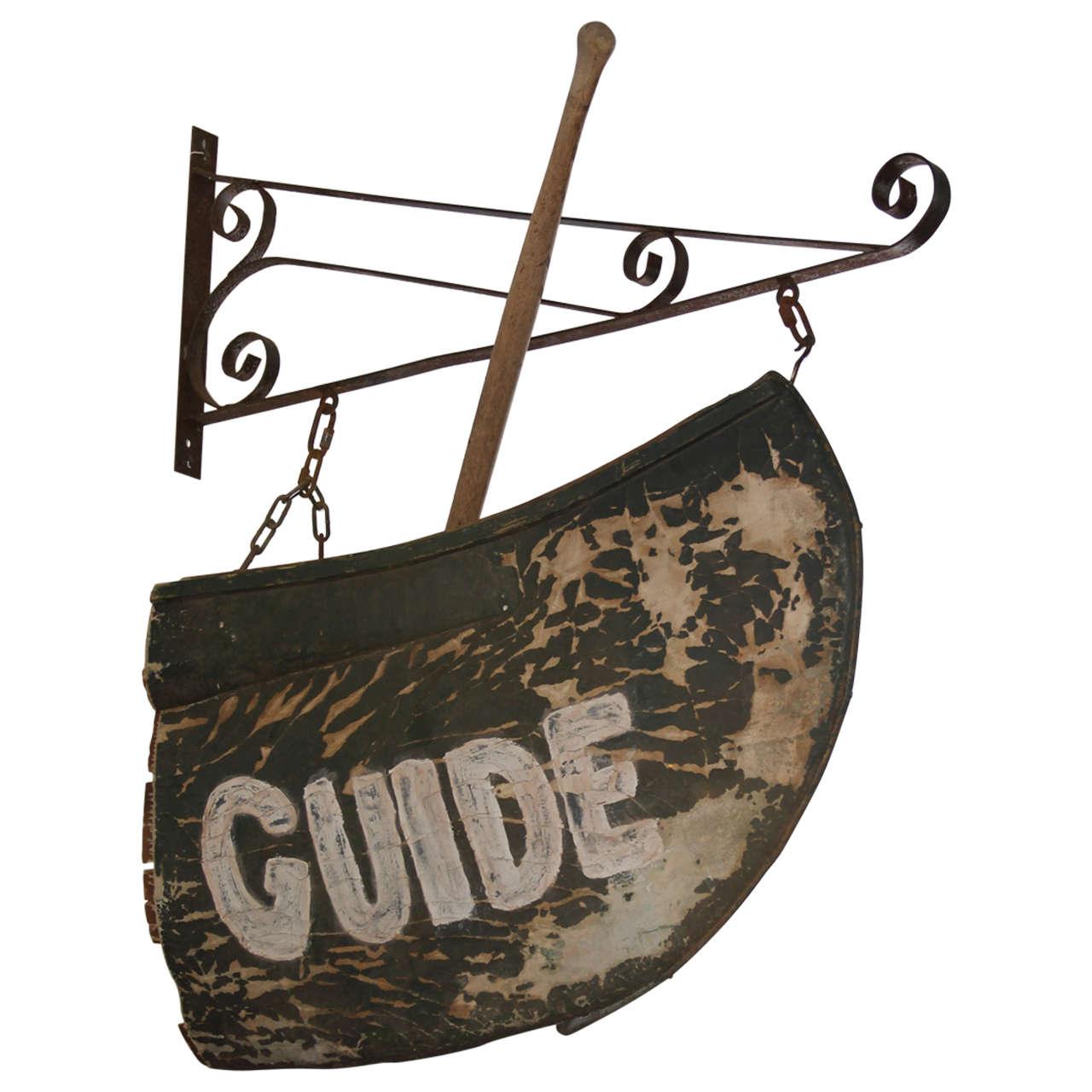 Folk Art Canoe Guide Sign For Sale