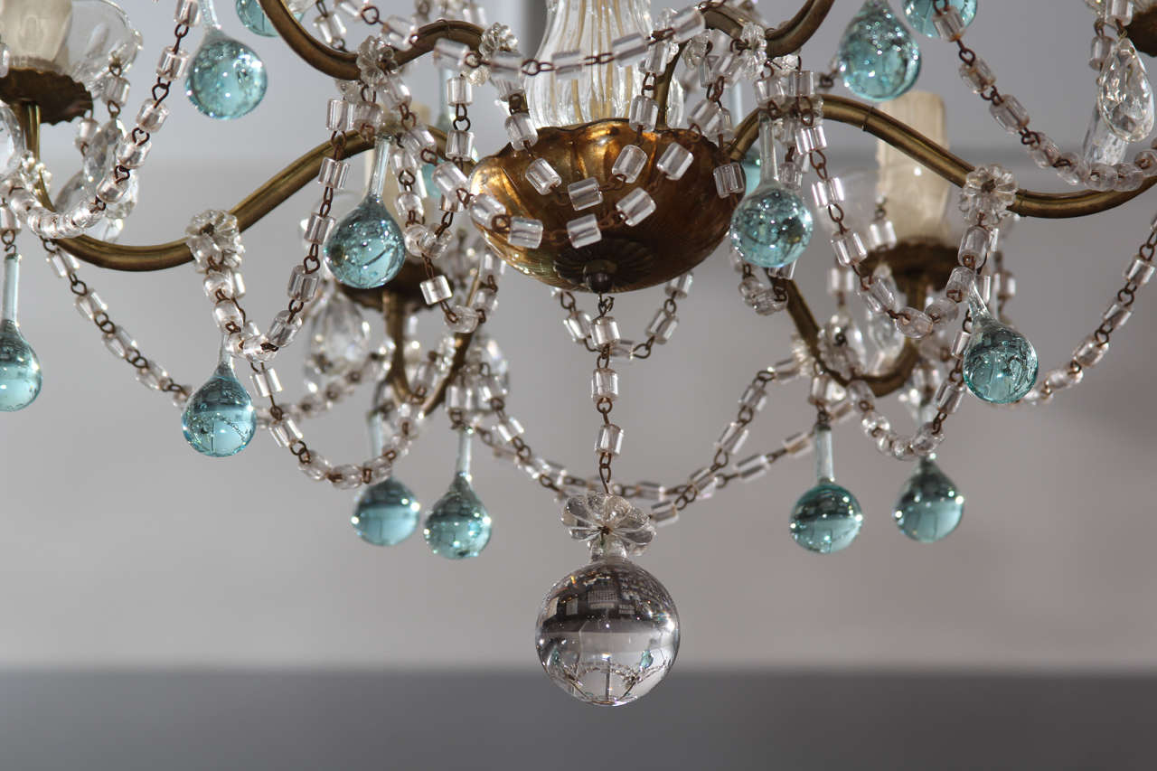 Italian Chandelier with Blue Drops In Good Condition For Sale In Seattle, WA