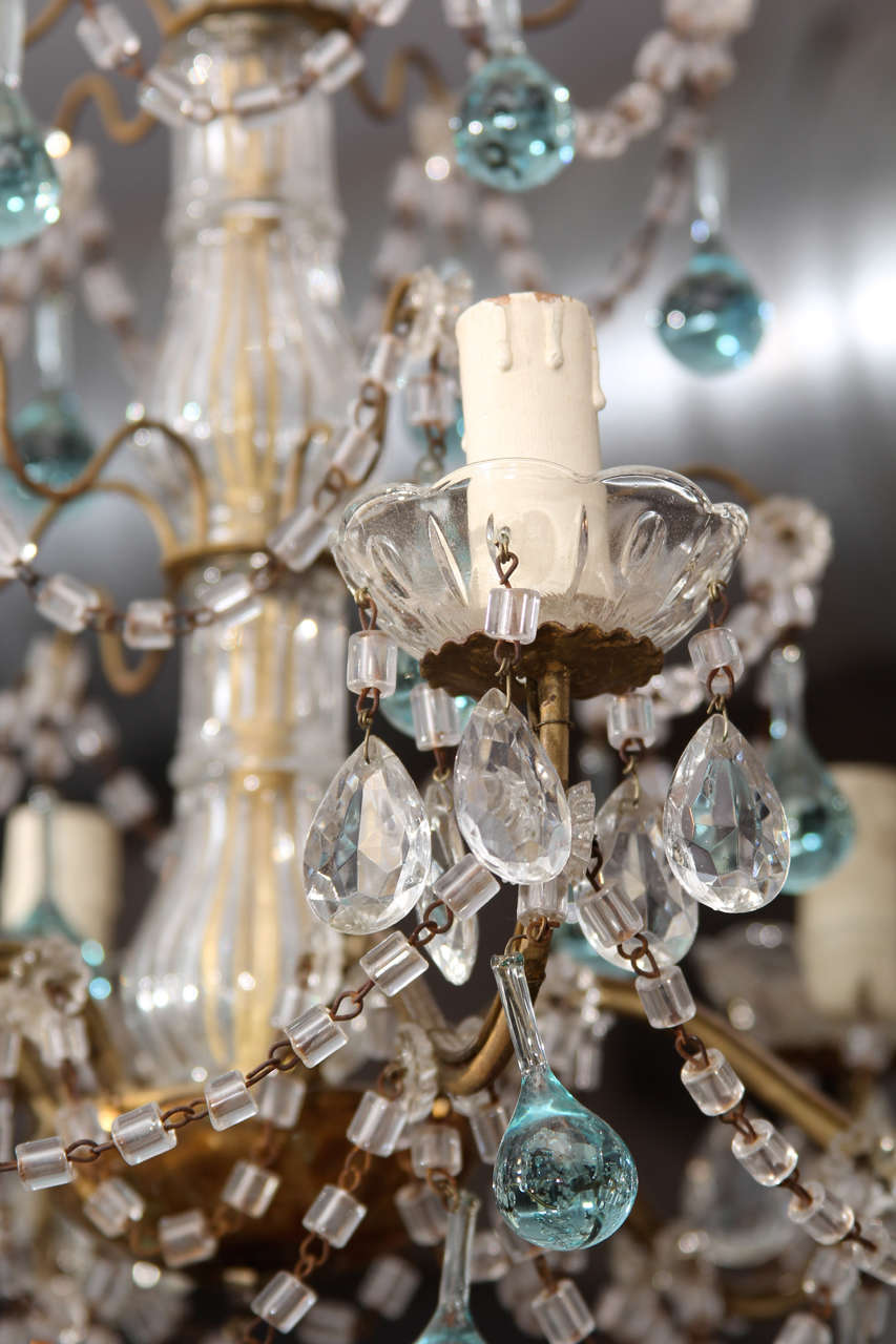 Italian Chandelier with Blue Drops For Sale 1